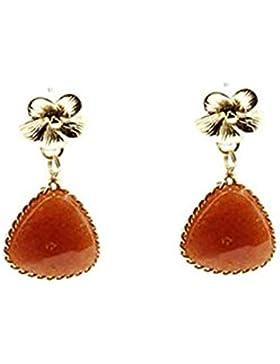 Beyoutifulthings 1 Paar Damen Ohrringe aus Edelstahl vergoldet Stecker Blume mit hängendem Naturstein rotbraun...