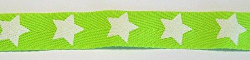 2 m Band/Borte mit weißen Sterne 20 mm (neon grün) Neon-grüner Reißverschluss