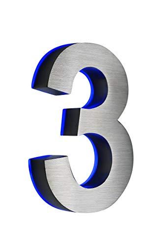 Hausnummer 3, Edelstahl, 3D, beleuchtet, 180mm hoch, blaues LED (12V) ohne Transformator