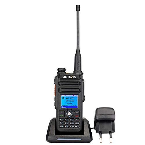 Retevis RT82 DMR Talkie Walkie Numérique Dual Bande 5W 3000 Canaux Radio Amateur GPS IP67 Imperméable DTMF Fonction Enregistrement Compatible avec Motorobo Tier I et II (Noir)
