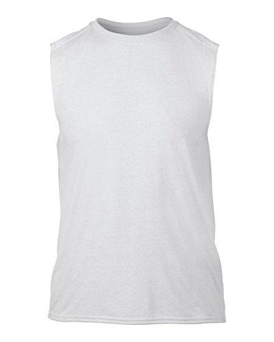Gildan-Maglietta performance Maglietta senza maniche da uomo Bianco