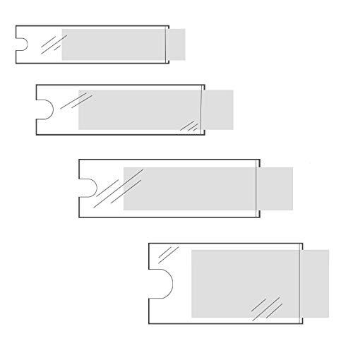 Klebeshop24 BESCHRIFTUNGSFENSTER SELBSTKLEBEND | Format + Menge wählbar | Transparent | Schmale Seite offen | Selbstklebetaschen für Einsteckschilder | Mit Daumenausstanzung ~ 35 x 75 mm 24 Stück