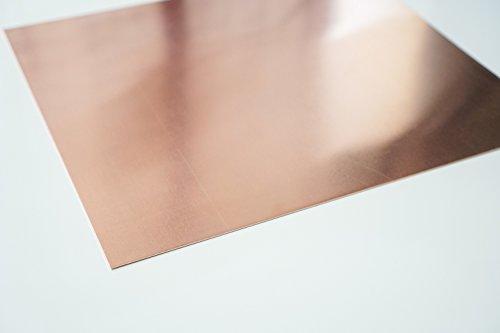 bestell-dein-Blech Metall Kupferblech 0,6 mm stark - Qualität nach DIN EN 1172 (halbhart) Zuschnitt nach Maß Größe: 20 x 20 cm (200 x 200 mm)