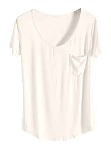 Damen T Shirt Casual Sexy und Elegante 2018 Sommer Top V Ausschnitt mit Tasche