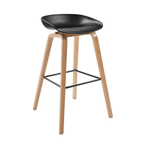 her Hocker mit Rücken Barhocker in Haus und Küche Holz Modern Minimalist Style Schwarz Sitzhöhe 76cm, 85cm ()