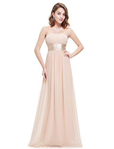 Ever Pretty Damen Empire Taille Schulterfrei Lange Abendkleider 09955 Nackt Rosa