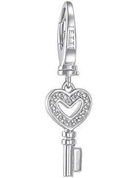 JETTE Charms Damen-Charm Schlüssel 925er Silber 18 Zirkonia One Size, silber