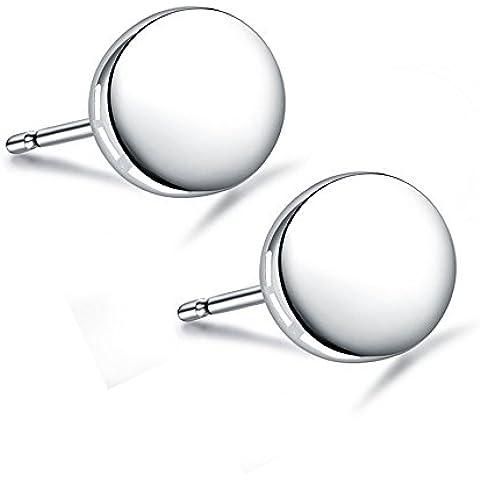 acxico rotonda Luna Forma il lato lucido 925argento Sterling Orecchini