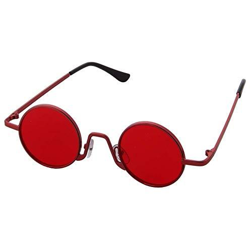 OGOBVCK retro runde sonnenbrille unisex klassiker ovale brillen für frauen und männer (Red)