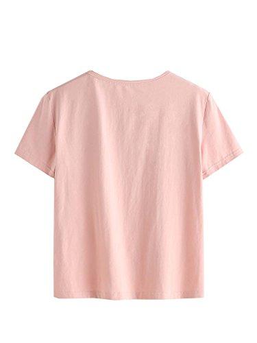 ROMWE Damen Rose Stickerein Sommer Kurzarm Top Tshirt Rosa
