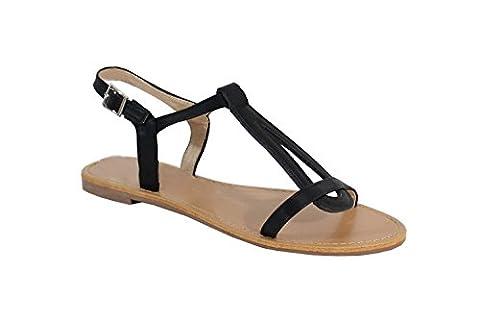 Sandale Style Cuir - No Name - Spéciale Été - Noir - 38 EU