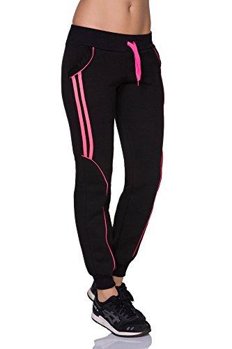 FUTURO FASHION - Pantalon de sport - Tapered - Femme noir noir/rose noir/rose