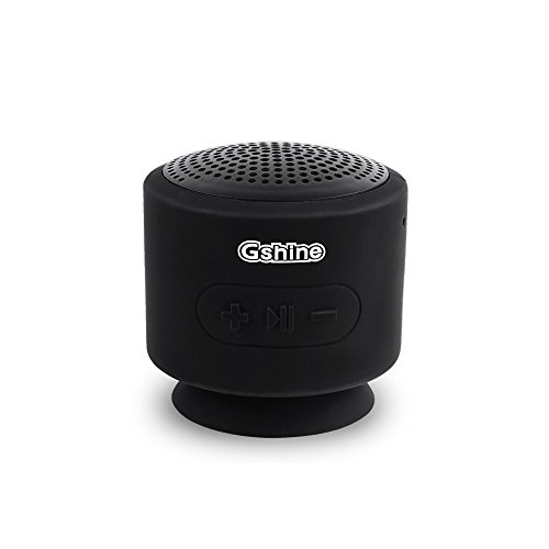 Gshine Speakers, Gshine Bluetooth Mini Speakers with Powerful Sound Waterproof and Bottom Sucker Designed Portable Speakers for Phones / Tablets / Computers. (Black)