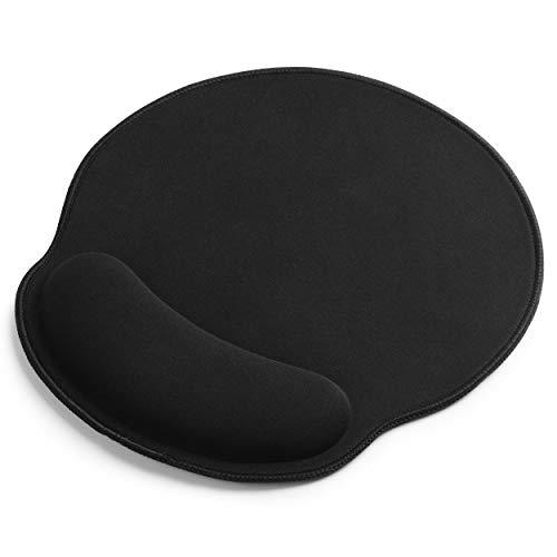 Sidorenko Mauspad mit Gelkissen - 260x240mm - Vernähte Kanten - rutschfest - Mousepad mit Handauflage für schonende Handgelenk Haltung - Ergonomisches Mauspad in schwarz