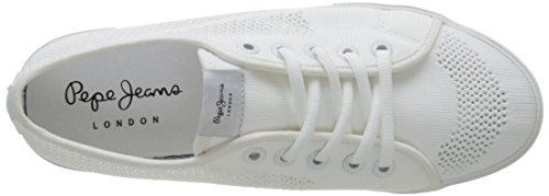 Pepe Jeans London Aberlady Fishnet, Scarpe da Ginnastica Basse Donna Bianco (White)