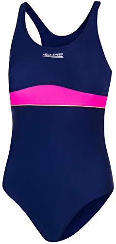 Aqua Speed Aqua Speed Emily Badeanzug | Mädchen | Teenager | 134-164 | UV-Schutz | Elastisch | Blickdicht | Chlorresistent (Navy Blue - pink - 47, 128)