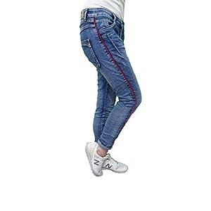 Karostar Stretch Baggy Boyfriend Jeans Schwarze Seitenstreifen