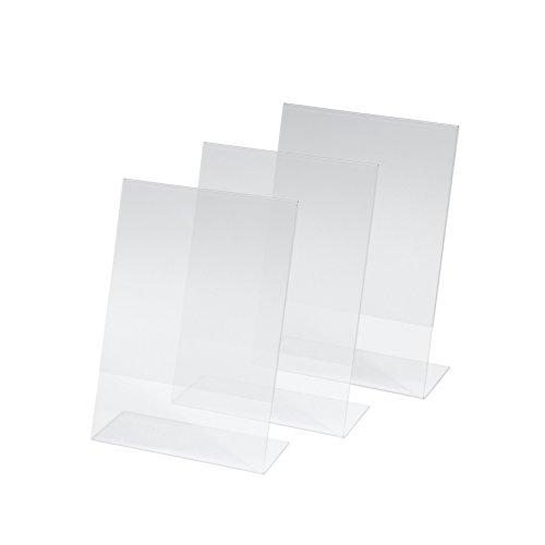 SIGEL TA212 Porta-avvisi da tavolo/Porta-brochure da banco, con base a L, acrilico, per A5, 3 pz.