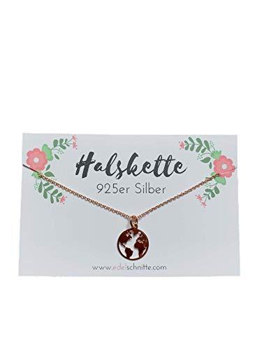 Edelschnitte Halskette My World 925er Silber Roségold Globus Reisen Urlaub Geschenk Landkarte