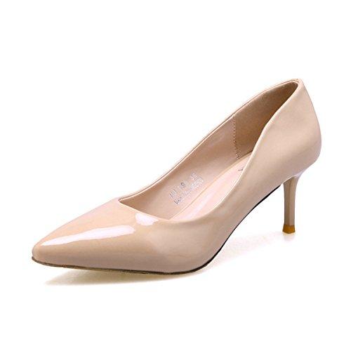 Damen Pumps Slip Spitz Zehen Arbeitschuhe Niedrige Stilettos OL Elegant Lässig Schuhe Aprikose,Lackleder