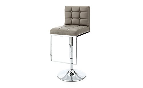 designement Vladimir Chaise de Bar Ecocuir Taupe 43 x 49 x 113 cm