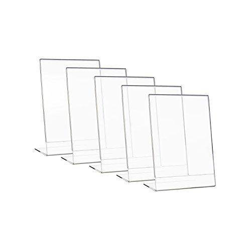 HMF 46934-5 x Tischaufsteller schräg, L-Ständer, für Din A4 Acryl, Menükartenhalter, 21,5 x 28,5 x 9,5 m
