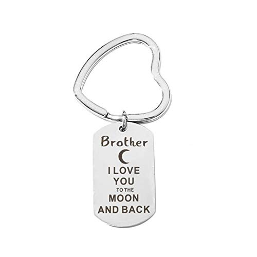 AnazoZ Edelstahl Schlüsselanhänger Brother I Love You to The Mond and Back Schlüsselbund Schlüsselring Anhänger Dekoration Silber, mit Kostenlose Gravur