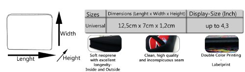 """wortek Universal Designer Handy Smartphone Tasche aus Neopren für diverse Smartphones bis zu 4,3"""" - Blumen Ranke Schwarz Weiß 39 Hearts Black Purple"""