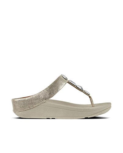 0859e481aced1b Fitflop Women s ROKA Toe-Thong Sandals-Leather T-Bar (Silver 011)