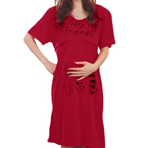 Junjie 2019 Damen Frauen Mutterschaft Pflege frühling stillen Hochzeit lustig Short Shirt Tops Umstandsrock Kurzarm Print Kleid grau, rot -