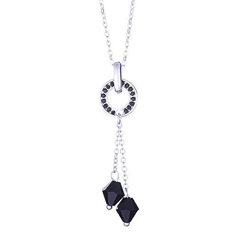 Collier avec pendentif bijoux Galaxy Swarovski cristaux noirs - cadeau idéal pour les femmes et les filles - Livré dans une boîte-cadeau