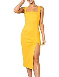 aa6eff1c6d9d Innerternet Vestito da Donna Tubino Slim Laterale Spacco Tinta Unita Lunga  al Ginocchio Vintage Elegante Ragazza