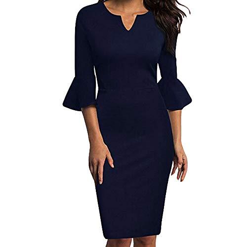 0a867a42e79 Women Dress Sunday77 V-Neck Plus Size Knee-Length Office Flounce Bodycon  Evening Party