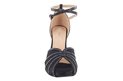 Scarpa da Ballo Donna con Plateau in Raso Nero e Crystal Strass Tacco Stiletto cm 7.5 Suola Drs Nero