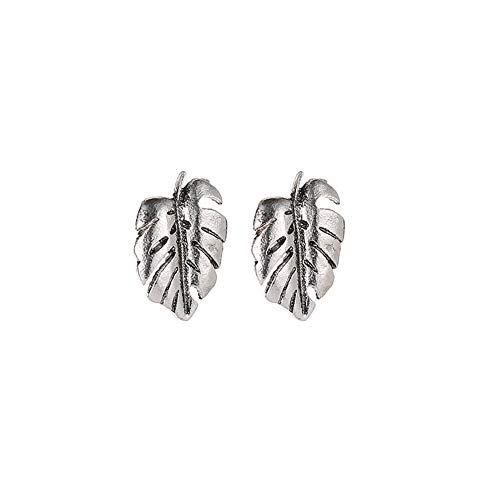 Kuizhiren1 Jewelry Gift Stud Earrings for Girls/Women, Fashion Simple Women Mini Hollow Coconut Palm Leaf Ear Stud Earrings Jewelry - Antique Silver