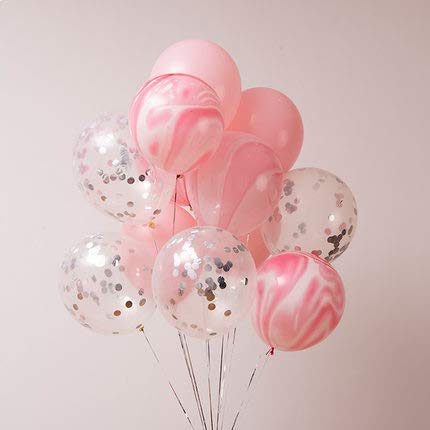 Erosion 40 Stück Silber Konfetti und rosa Achat Marmor Luftballons, Pastell rosa Latex Luftballons Set für Geburtstag Partydekorationen Hochzeit Baby Duschen Weihnachten Festival Zeremonie