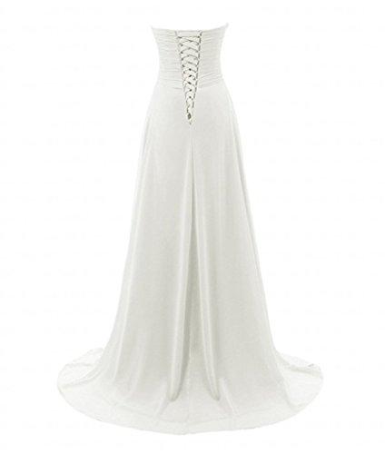 Charmant Damen 2017 Neu weiss Pailletten herzausschnitt Abendkleider Partykleider Promkleider Hochzeitskleider Lang A-linie Weiß