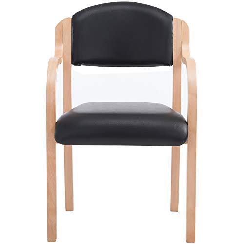 Certeo Stapelstuhl Devon mit Armlehnen, schwarz - Wartezimmerstuhl mit Holzgestell - Besucherstuhl mit antibakteriellem Vinyl-Polster