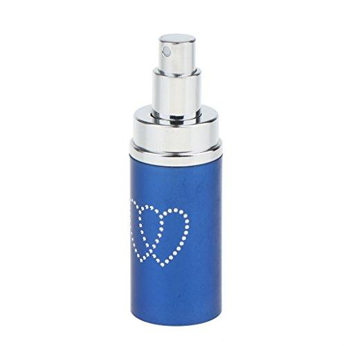Homyl 50ml Vaporisateur Voyage Portable Rechargeable Vide Atomiseur de Parfum Flacon de Pulvérisation Bouteille Cosmétique à Lotion - avec Strass en Forme Cœur - Bleu