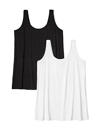 Plus Size Jersey Tank Top, 2-Pack, 3X, Black/White ()