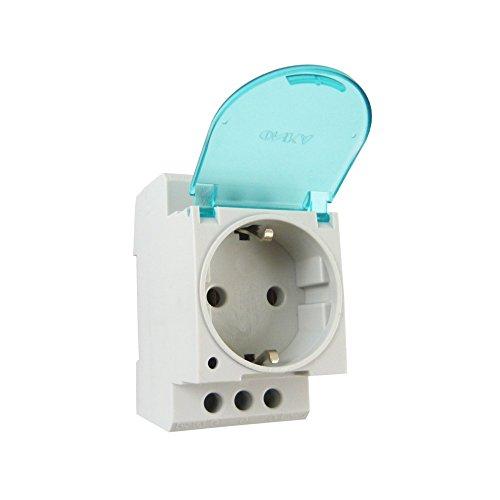 Steckdose Schuko für Hutschiene DIN TH35 16A 250V mit Klappdeckel ohne LED Schukodose Einbausteckdose 7160 ONKA 1600 -