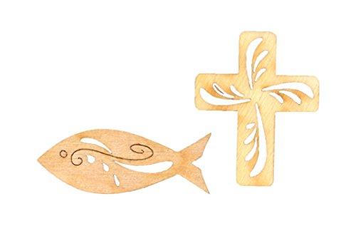 Petra's Bastel News A-KFKRS30 30-teiliges Set Fische und Kreuz mit Tribal bestehend aus 2 verschiedenen Designs, Holz - Set Holz Kreuz