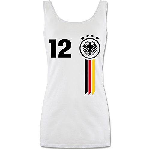Shirtracer Fußball-Europameisterschaft 2020-12. Mann Deutschland WM - L - Weiß - P72 - lang-geschnittenes Tanktop für Damen