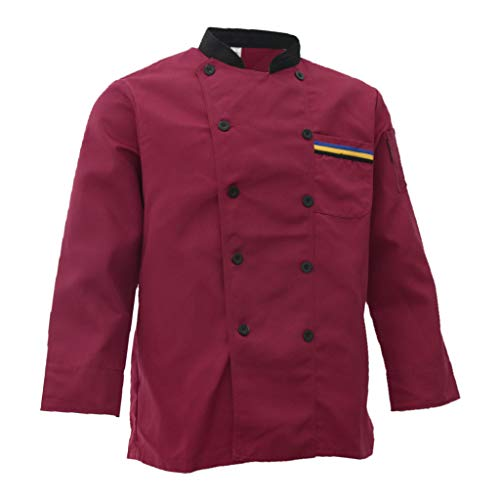 B Blesiya Unisex Chefkochjacke Anzug doppelreihig langarm Kochjacke Küchenchef Küchenchefin Uniform für Hotel Café, Restaurant - Rot XXXL