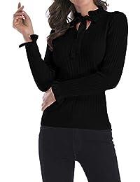 MUCHAO Otoño e Invierno de Mujer de Manga Larga de Punto de Hoja de Loto  Corbata c7065362ccb1