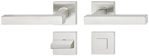 JUVA Design Drückergarnitur Edelstahl Türbeschlag eckig Türgriff auf Rosette für Zimmertüren - LDH 2167 | WC-Badezimmer | Edelstahl matt gebürstet | Baubeschläge | 1 Garnitur