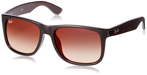 Ray-Ban Men's Justin Non-Polarized Iridium Rectangular Sunglasses, Brown, 55.2 mm