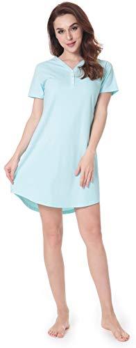 NORA TWIPS Damen Nachthemd Kurzarm Nachtwäsche Loose Fit Nachthemd