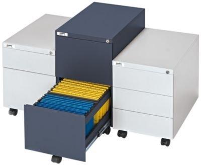QUIPO Rollcontainer, Stahl – 1 Stiftschale, 3 Materialschübe – Tiefe 790 mm, lichtgrau – Beistellschrank Rollcontainer für Büro