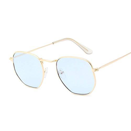 ZHOUYF Sonnenbrille Fahrerbrille Hexagon Black Sonnenbrillen Damen Small Square Sonnenbrillen Herren Metallrahmen Driving Fishing Sonnenbrillen Damen, F